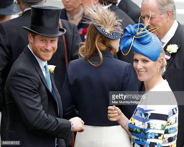 Prince Harry and Zara Phillips attend day 1 of Royal Ascot at Ascot Racecourse on June 14 2016 in Ascot England