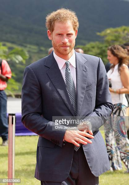 Prince Harry arrives at Brimstone Fortress during a youth rally on the fourth day of an official visit on November 23 2016 in Port Zante St Kitts and...