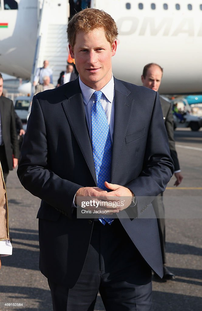 <a gi-track='captionPersonalityLinkClicked' href=/galleries/search?phrase=Prince+Harry&family=editorial&specificpeople=178173 ng-click='$event.stopPropagation()'>Prince Harry</a> arrives at the VIP section of Muscat International Airport on November 18, 2014 in Muscat, Oman. <a gi-track='captionPersonalityLinkClicked' href=/galleries/search?phrase=Prince+Harry&family=editorial&specificpeople=178173 ng-click='$event.stopPropagation()'>Prince Harry</a> is on a three day visit to Oman before heading to Abu Dhabi to compete in a charity polo match for his charity Sentebale.