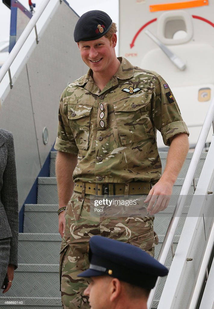 Prince Harry arrives by RAAF VIP aircraft at RAAF Fairbairn Airport on April 6, 2015 in Canberra, Australia. Prince Harry, or Captain Wales as he is known in the British Army, will end his military career with a month long secondment to the Australian Defence Force in barracks in Sydney, Perth and Darwin.