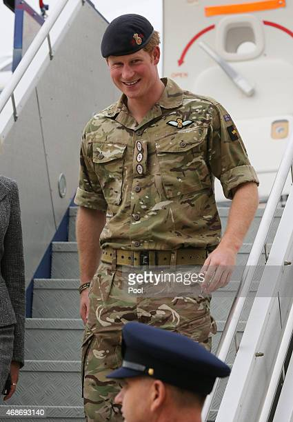 Prince Harry arrives by RAAF VIP aircraft at RAAF Fairbairn Airport on April 6 2015 in Canberra Australia Prince Harry or Captain Wales as he is...