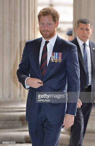 Prince Harry arrives for a service marking the 75th anniversary of Explosive Ordnance Disposal across the British Armed Forces at St Paul's Cathedral...