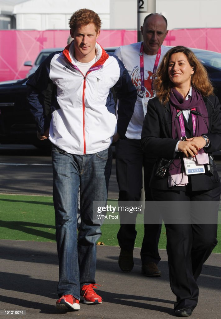 <a gi-track='captionPersonalityLinkClicked' href=/galleries/search?phrase=Prince+Harry&family=editorial&specificpeople=178173 ng-click='$event.stopPropagation()'>Prince Harry</a> arrives for the Goalball on day 6 of the London 2012 Paralympic Games at The Copper Box on September 4, 2012 in London, England.