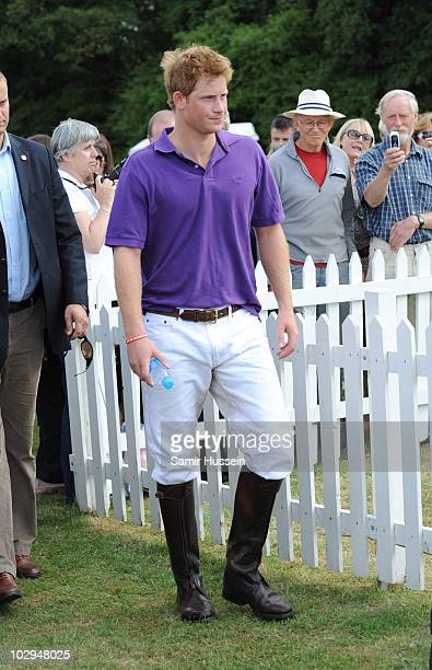 Prince Harry arrives for the presentation of the Asprey World Class Cup at Hurtwood Park Polo Club on July 17 2010 in Ewhurst England