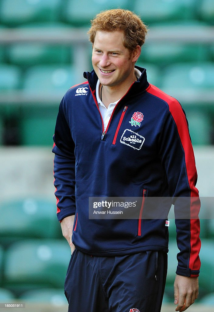 Prince Harry arrives in a tracksuit to take part in the RFU All School Programme Coaching Event at Twickenham Stadium on October 17, 2013 in London, England.