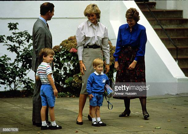 Prince Harry arrives to attend his first day at nursery school with Charles Prince of Wales Diana Princess of Wales and his brother Prince William on...