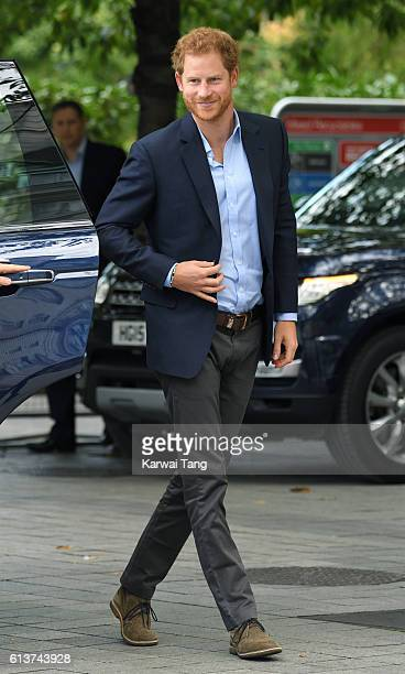Prince Harry arrives to celebrate World Mental Health Day with Heads Together at the London Eye on October 10 2016 in London England