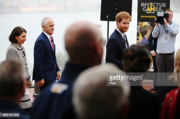 Prince Harry arrives with NSW Premier Gladys Berejiklian and Prime Minister Malcolm Turnbull at the official launch of the Invictus Games Sydney 2018...