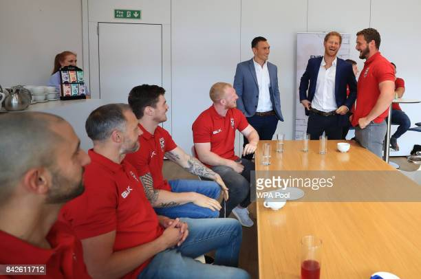 Prince Harry as he attends a reception hosted by the Rugby Football League to meet members of the England squad on September 4 2017 in Manchester...
