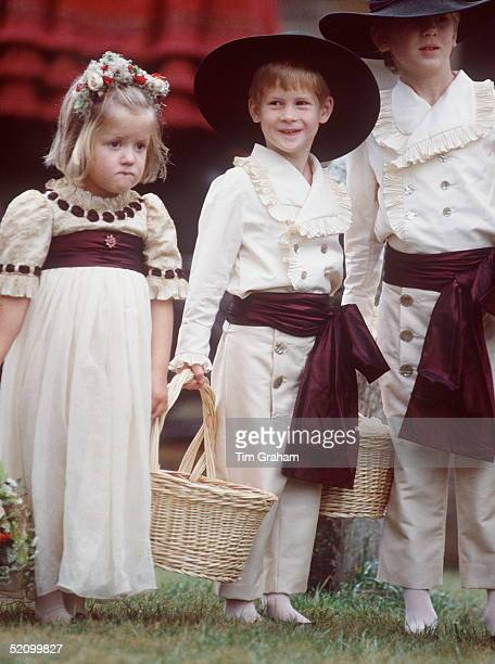 Prince Harry As Pageboy At His Uncle's Wedding With His Cousins Eleanor And Alexander Fellowes