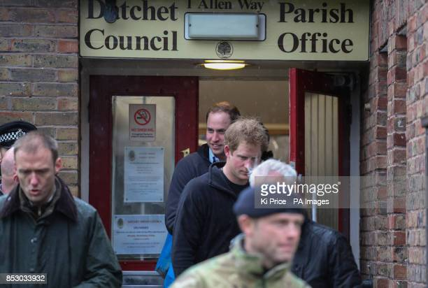 Prince Harry at the Datchet Council Parish Office with the Duke of Cambridge in Datchet Berkshire as they joined colleagues from the armed forces in...