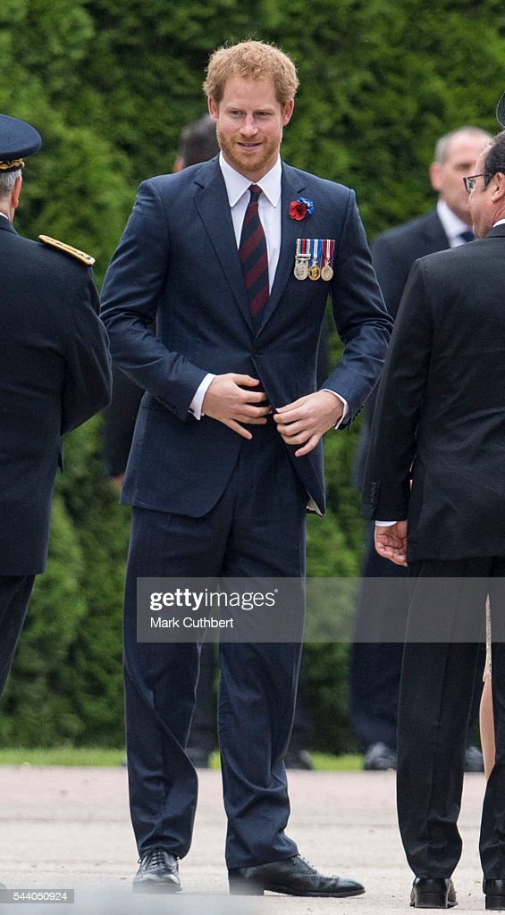 <a gi-track='captionPersonalityLinkClicked' href=/galleries/search?phrase=Prince+Harry&family=editorial&specificpeople=178173 ng-click='$event.stopPropagation()'>Prince Harry</a> attends a Commemoration of the Centenary of the Battle of the Somme at The Commonwealth War Graves Commission Thiepval Memorial on July 01, 2016 in Thiepval, France.