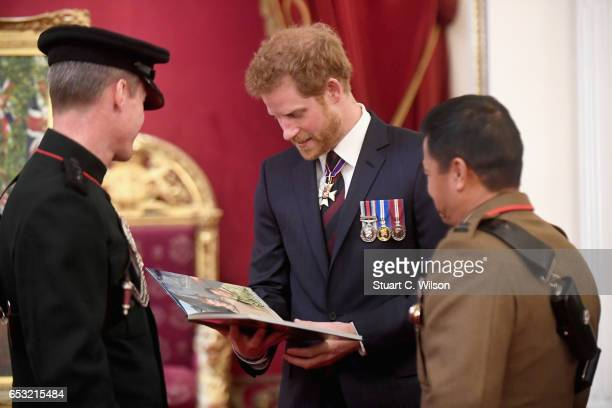 Prince Harry attends a medal presentation for The Royal Gurkha Rifles at Buckingham Palace on March 14 2017 in London England 2017 marks the 40th...