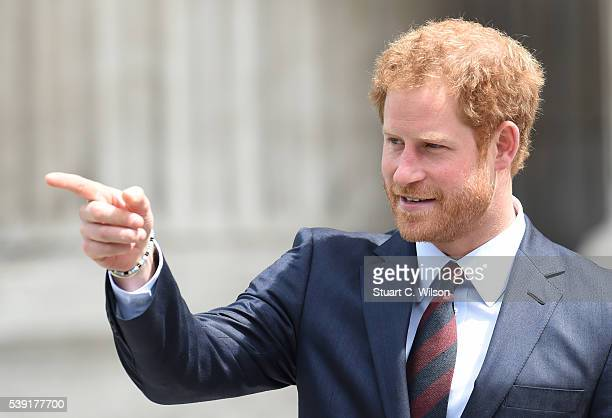 Prince Harry attends a National Service of Thanksgiving as part of the 90th birthday celebrations for The Queen at St Paul's Cathedral on June 10...
