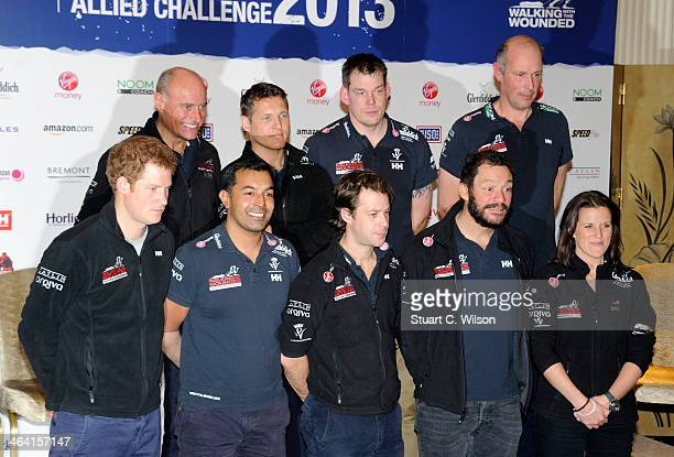 Prince Harry attends a press conference to welcome home the Walking with the Wounded South Pole Challenge teamat Mandarin Oriental Hyde Park on...