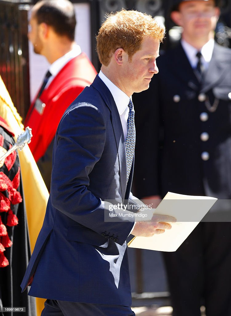 Prince Harry attends a service of celebration to mark the 60th anniversary of the Coronation of Queen Elizabeth II at Westminster Abbey on June 4, 2013 in London, England. The Queen's Coronation took place on June 2, 1953 after a period of mourning for her father King George VI, following her ascension to the throne on February 6, 1952. The event 60 years ago was the first time a coronation was televised for the public.