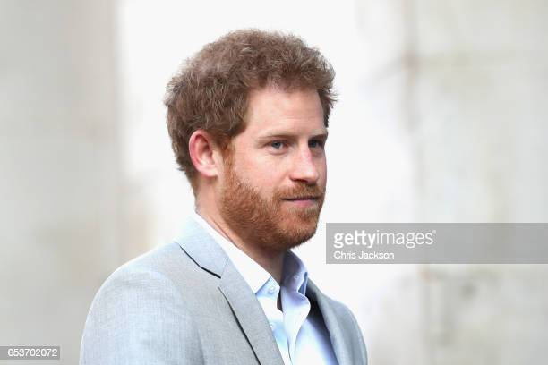 Prince Harry attends a Veterans' mental health conference with Heads Together at King's College London on March 16 2017 in London England