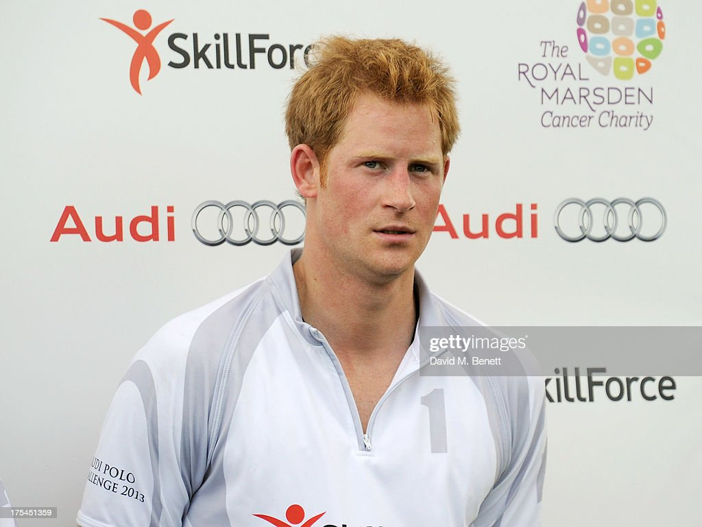 <a gi-track='captionPersonalityLinkClicked' href=/galleries/search?phrase=Prince+Harry&family=editorial&specificpeople=178173 ng-click='$event.stopPropagation()'>Prince Harry</a> attends day 1 of the Audi Polo Challenge at Coworth Park Polo Club on August 3, 2013 in Ascot, England.