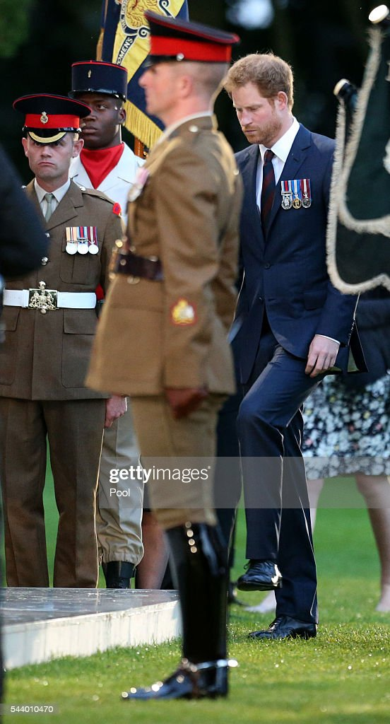Prince Harry attends part of a military-led vigil to commemorate the 100th anniversary of the beginning of the Battle of the Somme at the Thiepval memorial to the Missing in June 30, 2016 in Thiepval, France. The event is part of the Commemoration of the Centenary of the Battle of the Somme at the Commonwealth War Graves Commission Thiepval Memorial in Thiepval, France, where 70,000 British and Commonwealth soldiers with no known grave are commemorated.