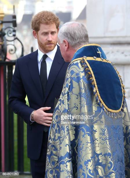 Prince Harry attends Service of Hope at Westminster Abbey on April 5 2017 in London England The multifaith Service of Hope was held for the four...