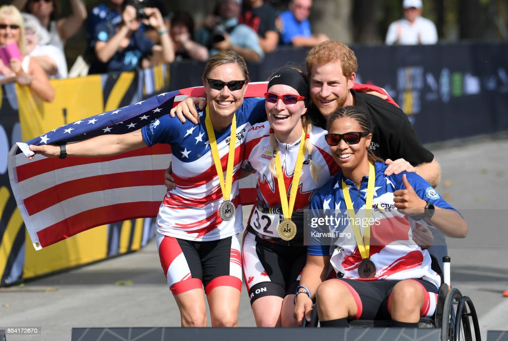 Prince Harry attends the Cycling on day 4 of the Invictus Games Toronto 2017 in High Park on September 26, 2017 in Toronto, Canada. The Games use the power of sport to inspire recovery, support rehabilitation and generate a wider understanding and respect for the Armed Forces.