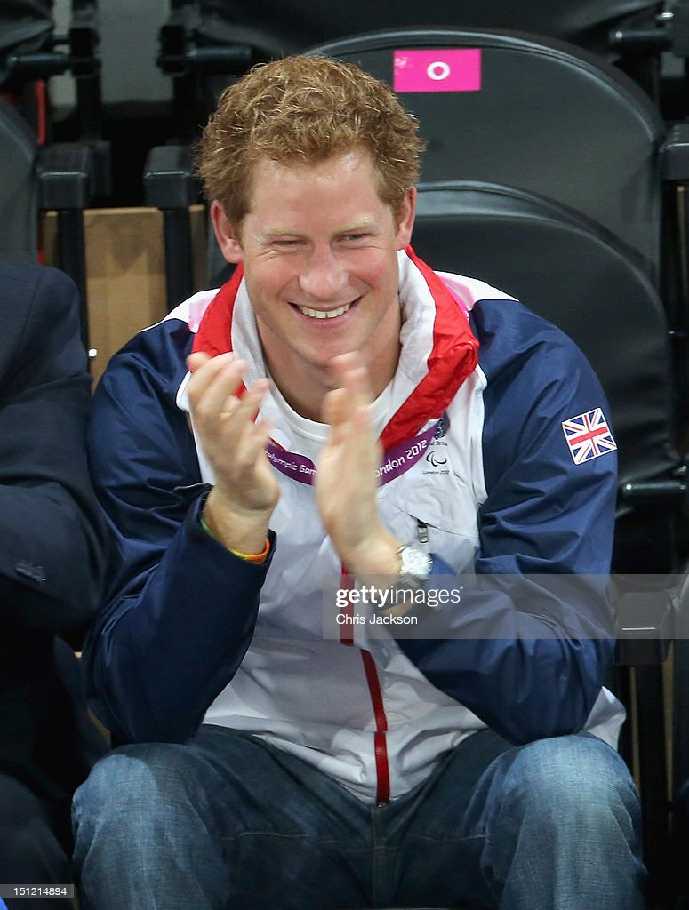 <a gi-track='captionPersonalityLinkClicked' href=/galleries/search?phrase=Prince+Harry&family=editorial&specificpeople=178173 ng-click='$event.stopPropagation()'>Prince Harry</a> attends the Goalball on day 6 of the London 2012 Paralympic Games at The Copper Box on September 4, 2012 in London, England.