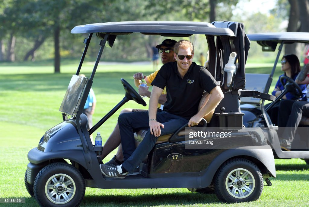 Prince Harry attends the Golf on day 4 of the Invictus Games Toronto 2017 in St George's Golf and Country Club on September 26, 2017 in Toronto, Canada. The Games use the power of sport to inspire recovery, support rehabilitation and generate a wider understanding and respect for the Armed Forces.