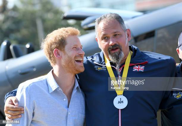 Prince Harry attends the Jaguar Land Rover Driving Challenge on day 1 of the Invictus Games Toronto 2017 at the Distillery District on September 23...