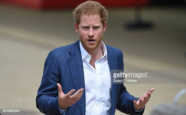 Prince Harry attends the launch of Heads Together Campaign at Olympic Park on May 16 2016 in London England