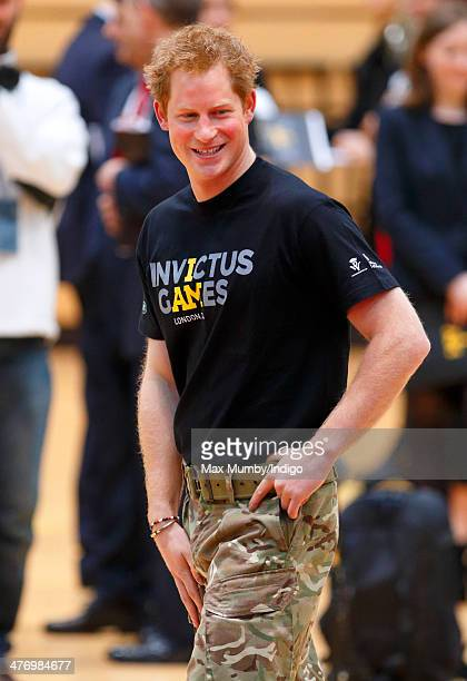 Prince Harry attends the launch of the Invictus Games at the Copper Box Arena in the Queen Elizabeth Olympic Park on March 6 2014 in London England...