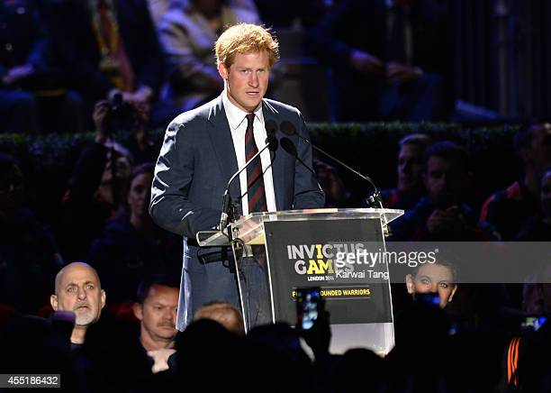 Prince Harry attends the opening ceremony for the Invictus Games at Queen Elizabeth Olympic Park on September 10 2014 in London England