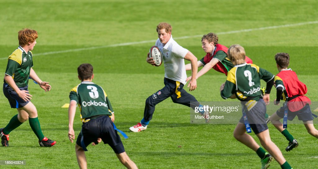 Prince Harry attends the RFU All School programme coaching event at Twickenham Stadium on October 17, 2013 in London, England.