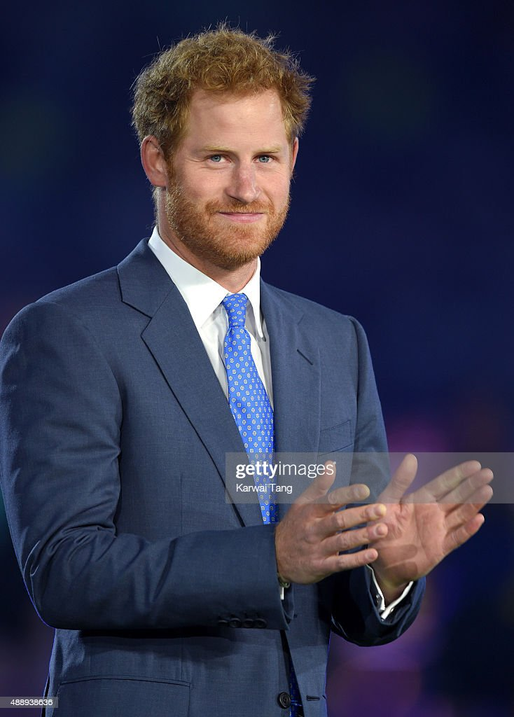 <a gi-track='captionPersonalityLinkClicked' href=/galleries/search?phrase=Prince+Harry&family=editorial&specificpeople=178173 ng-click='$event.stopPropagation()'>Prince Harry</a> attends the Rugby World Cup 2015 Opening Ceremony at Twickenham Stadium on September 18, 2015 in London, England.
