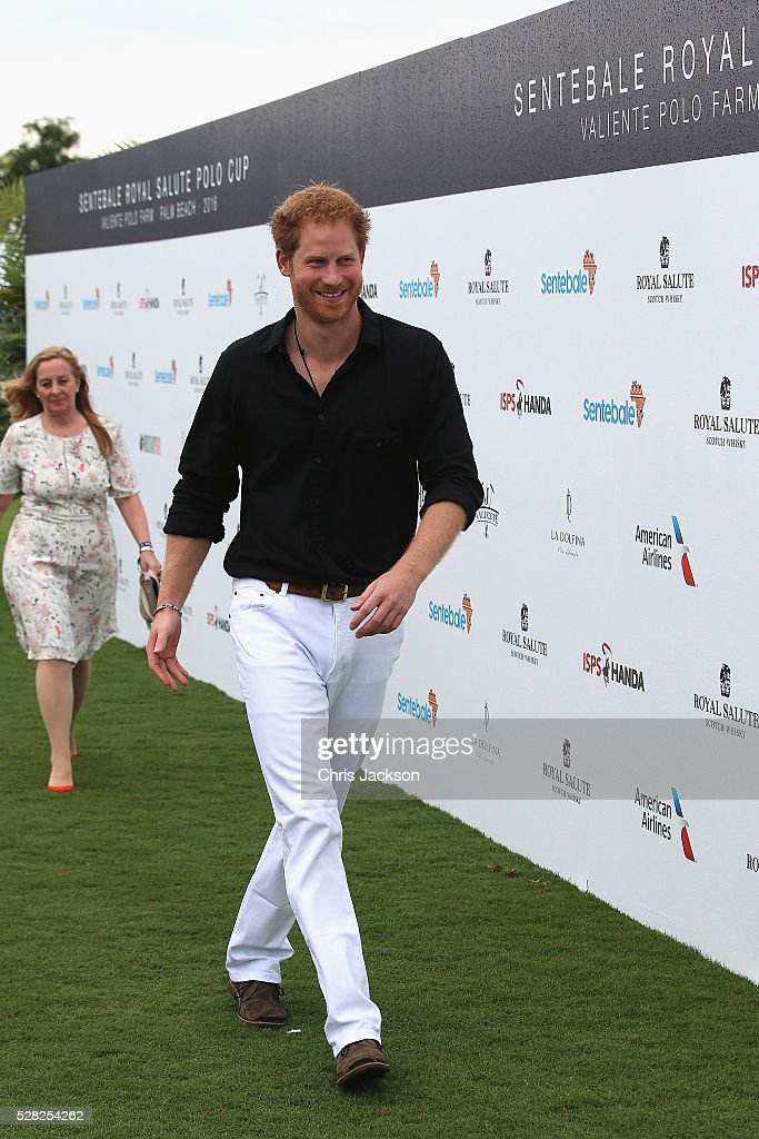 Prince Harry attends the Sentebale Royal Salute Polo Cup in Palm Beach at Valiente Polo Farm on May 4, 2016 in Palm Beach, United. The event will raise money for Prince Harry's charity Sentebale, which supports vulnerable children and young people living with HIV in Lesotho in southern Africa.