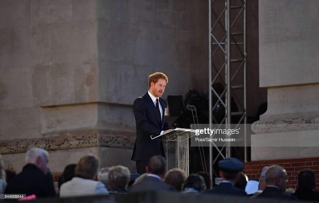 <a gi-track='captionPersonalityLinkClicked' href=/galleries/search?phrase=Prince+Harry&family=editorial&specificpeople=178173 ng-click='$event.stopPropagation()'>Prince Harry</a> attends the Somme Centenary commemorations at the Thiepval Memorial on June 30, 2016 in Thiepval, France.