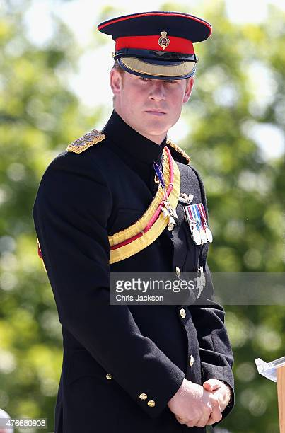 Prince Harry attends the unveiling of the Bastion Memorial at The National Memorial Arboretum on June 11 2015 in Stafford England