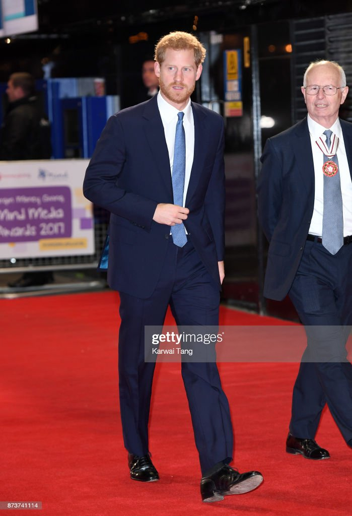 Prince Harry attends the Virgin Money Giving Mind Media Awards at Odeon Leicester Square on November 13, 2017 in London, England.