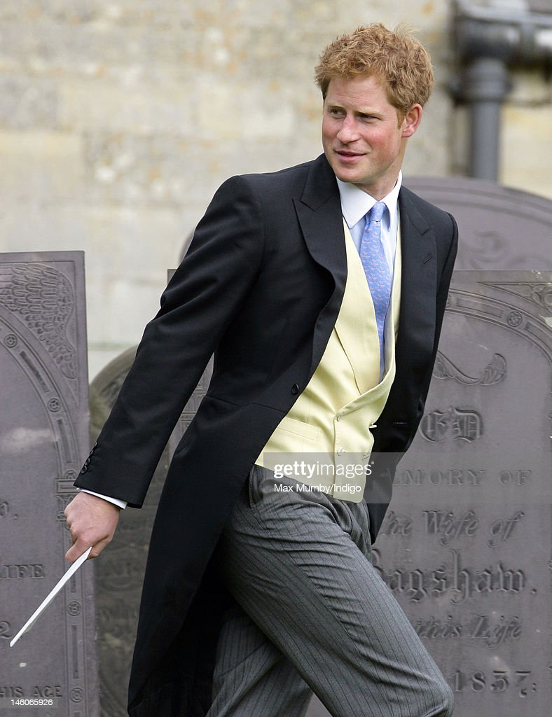 <a gi-track='captionPersonalityLinkClicked' href=/galleries/search?phrase=Prince+Harry&family=editorial&specificpeople=178173 ng-click='$event.stopPropagation()'>Prince Harry</a> attends the wedding of Emily McCorquodale and James Hutt at The Church of St Andrew and St Mary, Stoke Rochford on June 9, 2012 in Grantham, England.