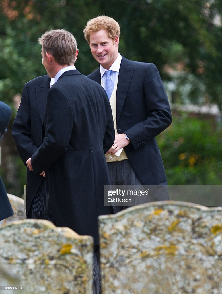 <a gi-track='captionPersonalityLinkClicked' href=/galleries/search?phrase=Prince+Harry&family=editorial&specificpeople=178173 ng-click='$event.stopPropagation()'>Prince Harry</a> attends the wedding of James Meade And Lady Laura Marsham at The Parish Church of St. Nicholas in Gaytonon September 14, 2013 in King's Lynn, England.