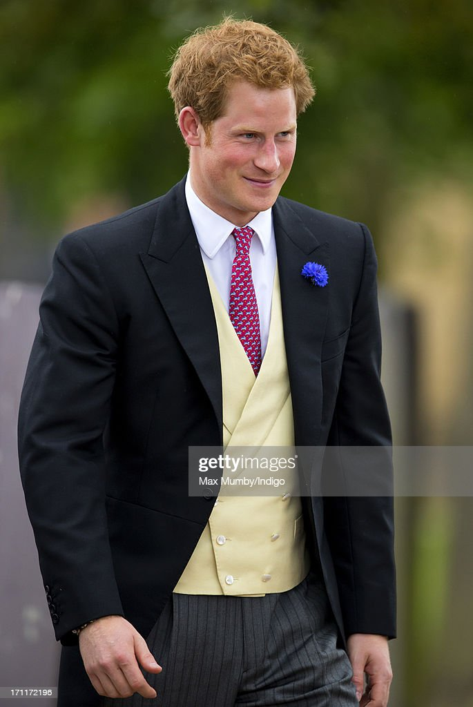 Prince Harry attends the wedding of Lady Melissa Percy and Thomas Van Straubenzee at St Michael's Church on June 22, 2013 in Alnwick, England.