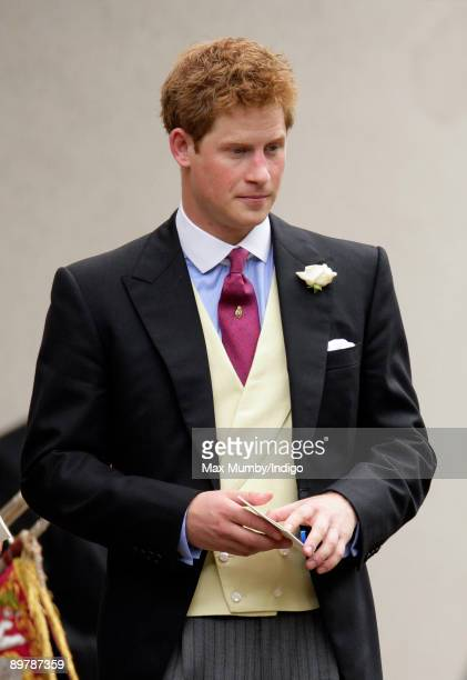 HRH Prince Harry attends the wedding of Nicholas van Cutsem and Alice HaddenPaton at The Guards Chapel Wellington Barracks on August 14 2009 in...