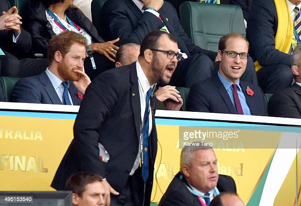 Prince Harry Australian rugby coach Michael Cheika and Prince William Duke of Cambridge attend the Rugby World Cup Final match between New Zealand...