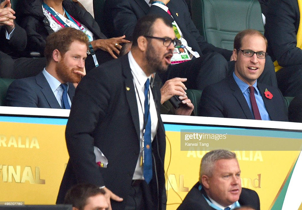 Prince Harry, Australian rugby coach Michael Cheika and Prince William, Duke of Cambridge attend the Rugby World Cup Final match between New Zealand and Australia during the Rugby World Cup 2015 at Twickenham Stadium on October 31, 2015 in London, United Kingdom.