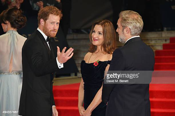 Prince Harry Barbara Broccoli and Sam Mendes attend the Royal World Premiere of 'Spectre' at Royal Albert Hall on October 26 2015 in London England