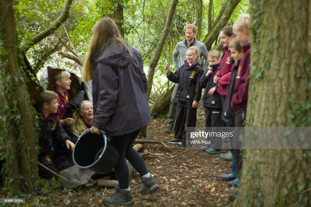 Prince Harry builds shelters with Felstead Prep School year 7 pupils as he visits The Chatham Green Project, a conservation and educational initiative run by the Wilderness Foundation in Chatham Green, available to all schools in Essex, on September 14, 2017 near Chelmsford, England.