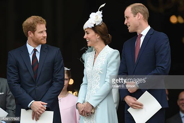 Prince Harry Catherine Duchess of Cambridge and Prince William attend a National Service of Thanksgiving as part of the 90th birthday celebrations...