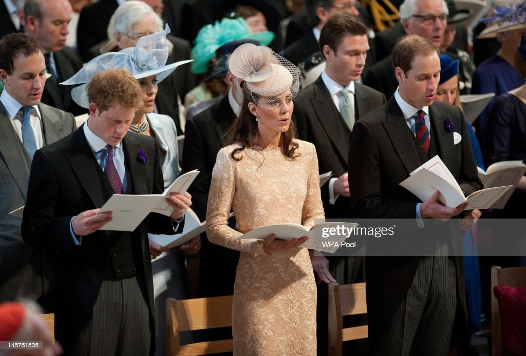 <a gi-track='captionPersonalityLinkClicked' href=/galleries/search?phrase=Prince+Harry&family=editorial&specificpeople=178173 ng-click='$event.stopPropagation()'>Prince Harry</a>, Catherine, Duchess of Cambridge and <a gi-track='captionPersonalityLinkClicked' href=/galleries/search?phrase=Prince+William&family=editorial&specificpeople=178205 ng-click='$event.stopPropagation()'>Prince William</a>, Duke of Cambridge during a service of thanksgiving to mark the Queen's Diamond Jubilee at St Paul's cathedral on June 5, 2012 in London, England. For only the second time in its history the UK celebrates the Diamond Jubilee of a monarch. Her Majesty Queen Elizabeth II celebrates the 60th anniversary of her ascension to the throne today with a carriage procession and a service of thanksgiving at St Paul's Cathedral.