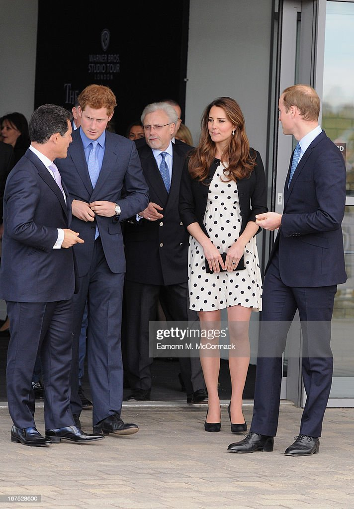 Prince Harry, Catherine, Duchess of Cambridge and Prince William, Duke of Cambridge leave the Inauguration Of Warner Bros. Studios Leavesden on April 26, 2013 in Hertfordshire, England.