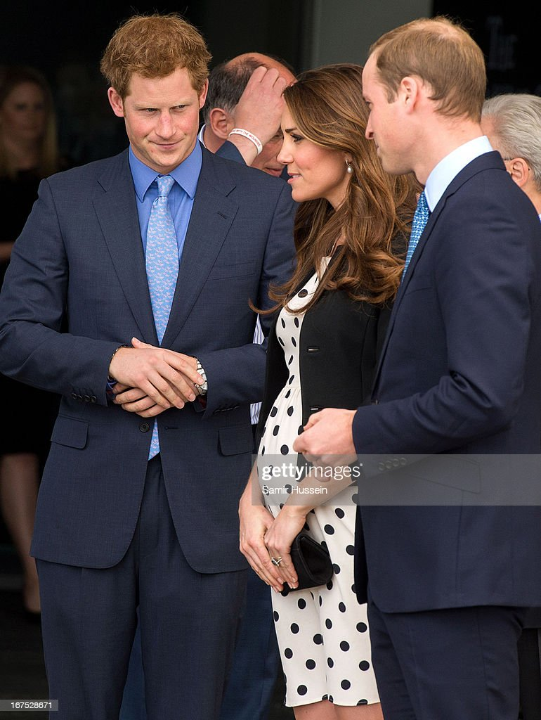 Prince Harry, Catherine, Duchess of Cambridge and Prince William, Duke of Cambridge visit Warner Bros Studios on April 26, 2013 in Watford, England.