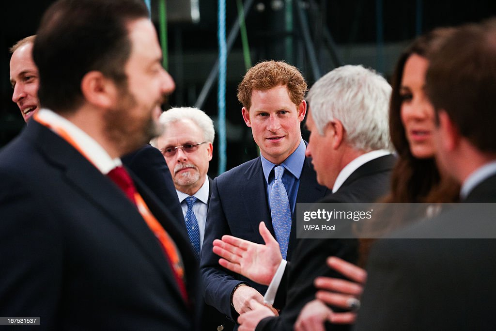Prince Harry (C), Catherine, Duchess of Cambridge (R) and Prince William, Duke of Cambridge (L) during the Inauguration Of Warner Bros. Studios Leavesden on April 26, 2013 in London, England.